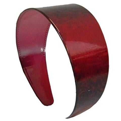 Red Wide 2 Inch Plastic Hair Band With Shaded Pattern (Motique Accessories)