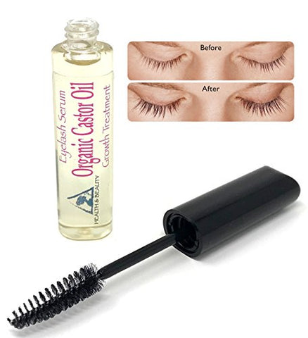 Castor Oil Organic Stimulate Eyelash Growth Serum Grows Longer Thicker Eyelashes &Amp; Beautiful Eyebrows Cold Pressed 100% Pure Hexane Free Brow Treatment In Mascara Tube