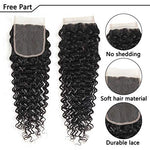 Beaufox Brazilian Hair Deep Wave 3 Bundles With Lace Closure Free Part Virgin Hair Unprocessed Natural Color Can Be Dyed And Bleached (16 18 20 + 14, Natural Color)