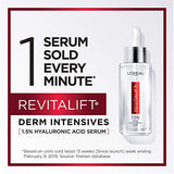Hyaluronic Acid Serum By Loreal Paris Skincare, Revitalift Derm Intensives Pure Hyaluronic Acid Anti-Aging Face Serum For Visibly Plumped Skin And Reduced Wrinkles, Paraben Free, 1.0 Oz.