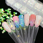 12 Boxes Holographic Nail Sequins Iridescent Mermaid Flakes Colorful Glitter Sticker Manicure Nail Art Design Make Up Diy Decals Decoration
