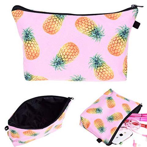 Portable Makeup Bag Organizer Travel Magic 3D Printing Cosmetic Bags Waterproof Pen Cases Brush Storage Pouch For Women Purse (Pink Pineapple)
