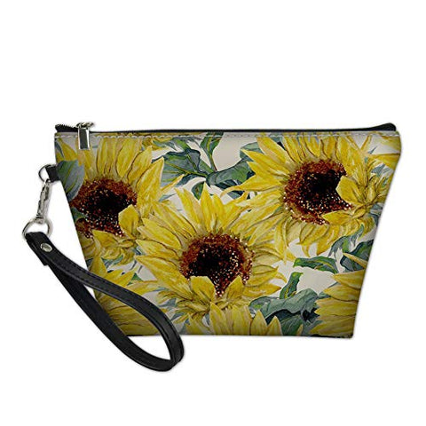 Mumeson Sunflower Makeup Bag,Cosmetic Bag With Zipper,Pu Toiletry/Travel Bag For Women,Storage Bag For Brushes Jewelry Accessories Collection