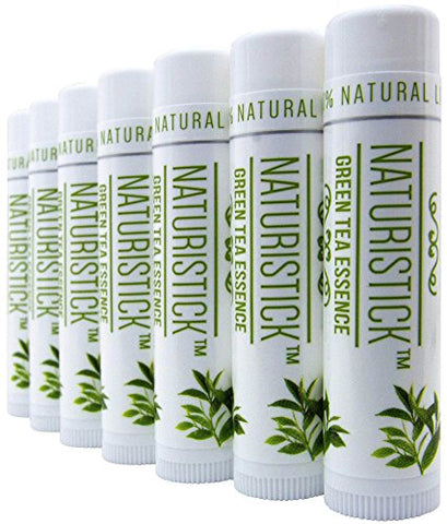 Green Tea Lip Balm Gift Set  By Naturistick. Best All Natural Beeswax Healing Chapstick For Dry, Chapped Lips. With Aloe Vera, Vitamin E, Coconut Oil. For Men, Women And Kids. Made In Usa.