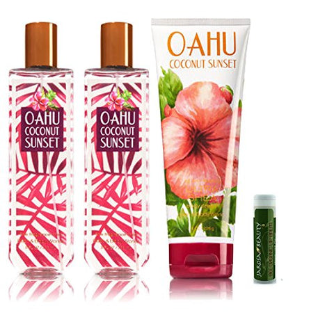 Oahu Coconut Sunset Bath &Amp; Body Works 4 Piece Set Of 2 Fragrance Mists &Amp; 1 Ultra Shea Body Cream With A Jarosa Peppermint Lip Balm