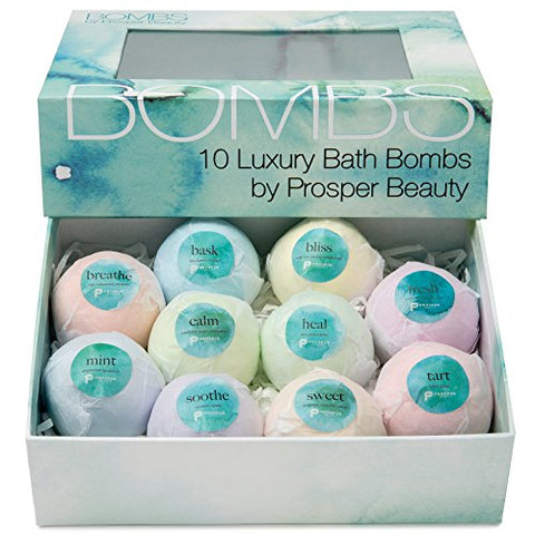 Bath Bomb Gift Set 10 Lush [Bombs By Prosper Beauty] Fragrant Fizzies Spa Handmade Natural Organic Essential Oils Aromatherapy Bathbombs