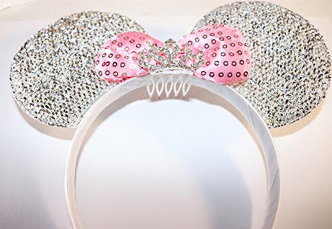 Minnie Mouse Ears Headband Princess Rhinestone Tiara Silver With Pink Bow Party
