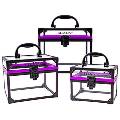Shany Clear Cosmetics And Toiletry Train Case Set  Assorted Sizes Travel Makeup Organizers With Secure Closure  3Pc Set
