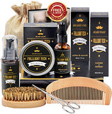 Beard Kit For Men Grooming &Amp; Care W/Beard Wash/Shampoo,Unscented Beard Growth Oil,Beard Balm Leave-In Conditioner,Beard Comb,Beard Brush,Beard Scissor 100% Natural &Amp; Organic For Beard Care