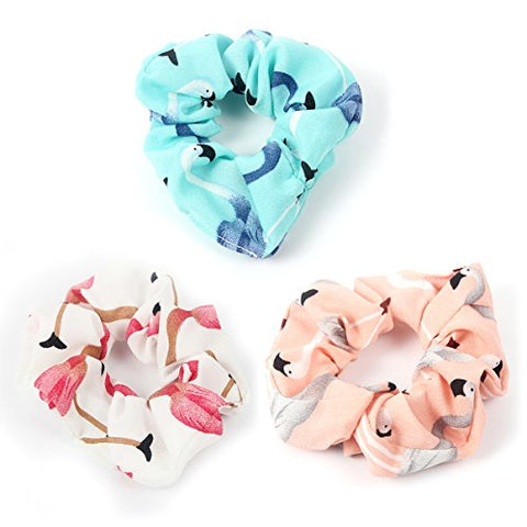 Accglory Hairbands Scrunchies Yoga Headbands Women Flamingo Printing Elastic Turban Knotted Clothing Headwrap Set (Scrunchies Set 2)