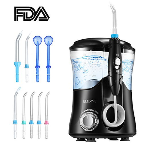 Water Flosser, Ellesye Oral Irrigator 600Ml With 9 Multifunctional Jet Tips, 3 Min Timer, Dental Water Flosser For Braces Care &Amp; Teeth Cleaning, Quiet Design For Adults &Amp; Kid Use
