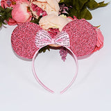 Niuzaiz 1Pc Mickey Minnie Mouse Ears Pink Glitter Ears With Pink Sequin Bow Headband Party Decorations (Pink Sequin)