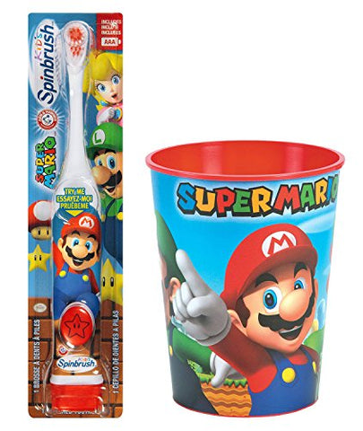 Super Mario Brothers Toothbrush Bundle: 2 Items - Spinbrush Powered Toothbrush, Mario Character Rinse Cup