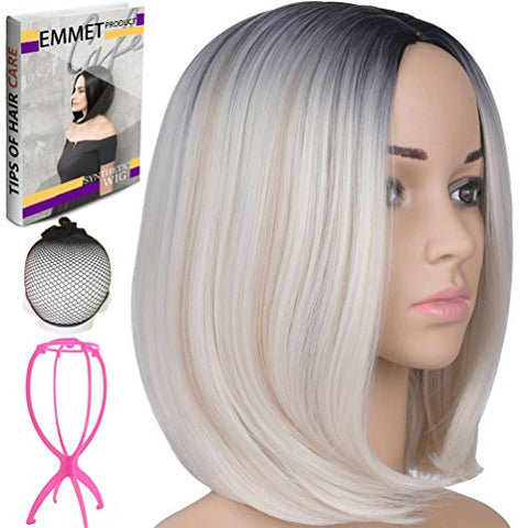 Emmet Short Bob Wig 12  Shoulder Length Soft Silk Synthetic Kanekalon Dark Roots Ombre Color Womens Wigs With Free Wig Cap &Amp; Free Wig Stand Holder &Amp; Free Ebook (Black &Amp; Beige)