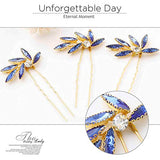 Olbye Wedding Hair Pins Crystal Bridal Headpieces For Bride And Bridesmaids Wedding Hair Accessories (Blue)