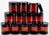 Vivaplex, 12, Amber, 4 Oz, Round Glass Jars, With Inner Liners And Black Lids