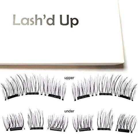 Lash'D Up Magnetic Eyelashes Full Eyes Natural Look Grade A+ Silk [No Glue] Child Cancer Partner 3 Magnets Reusable False Lashes | I Woke Up This Way 3.0
