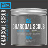 M3 Naturals Activated Charcoal Scrub Infused With Collagen &Amp; Stem Cell All Natural Body &Amp; Face Skin Care Exfoliating Blackheads Acne Scars Pore Minimizer Reduces Wrinkles Anti Cellulite12 Oz