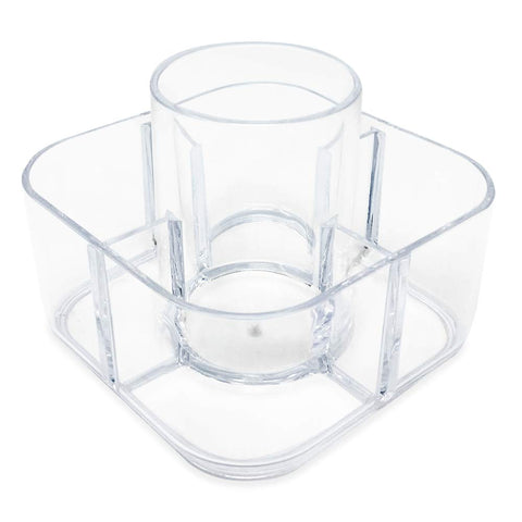 Isaac Jacobs 5-Compartment Clear Acrylic Organizer- Makeup Brush Holder- Storage Solution- Office, Bathroom, Kitchen Supplies And More