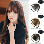Xiaoliangyiyz Human Hair Bangs Clip In Hair Extensions Air Fringe Handmade Flat Bangs (Flat Bangs With Temples, Dark Brown)