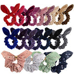 Tuparka 20 Pcs Bunny Ear Scrunchies Velvet Hair Scrunchies Chiffon Hair Bobbles Elastic Hair Bands Ponytail Holder Hair Ties For Girls And Women (19 Colors)