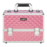 Mefeir Makeup Train Case 12.6 L W/Adjustable Dividers, 4 Trays And 2 Locks, Professional Travel Beauty Cosmetic Trolley Box,Xmas New Year Birthday Mother'S Day Gift (Pink)