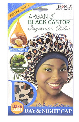 Donna Premium Deluxe Pattern Day And Night Cap Argan &Amp; Black Castor Oil Hair Care Treatment Leopard Pattern 22652