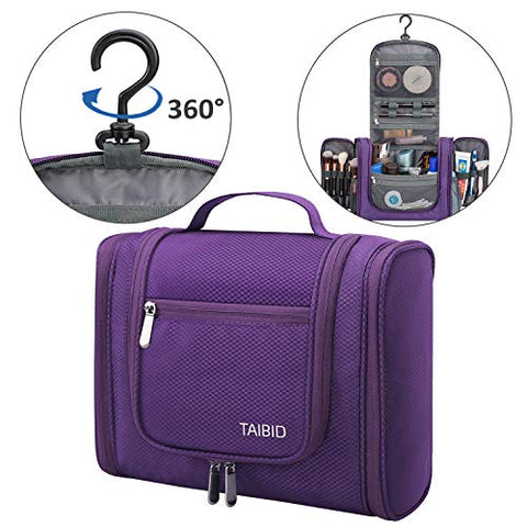 Taibid Hanging Toiletry Bag - Large Flat Travel Kit Makeup Cosmetics Organizer For Men And Women, Purple