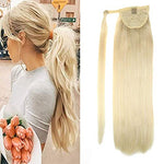 Laavoo 12  Remy Straight Long Ponytail Hair Extension One Piece Hairpiece Human Hair Colorful Platinum Blonde Wrap Around Pony Tail Extensions For Girl Lady Woman 70G (#60)