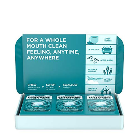 Listerine Ready! Tabs Chewable Tablets With Clean Mint Flavor, Revolutionary 4-Hour Fresh Breath Tablets To Help Fight Bad Breath On-The-Go, Sugar-Free &Amp; Alcohol-Free, 56 Ct