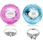 Ocean Breeze Lavender Bath Bombs Gift Set Of 2 With Size 7 Ring Surprise Inside Each Made In Usa
