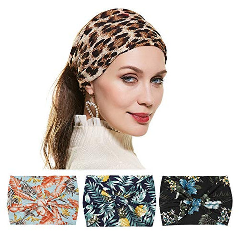 Twinfree Fruit Leopard Pattern Headbands Women Knot Hair Wrap Hairbands Hair Accessory