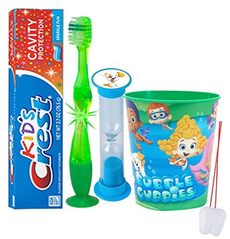 Bubble Guppies  Inspired 4Pc Bright Smile Oral Hygiene Set! Flashing Lights Toothbrush, Toothpaste, Brushing Timer &Amp; Mouthwash Rise Cup! Plus Bonus Remember To Brush  Visual Aid!