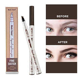 Asavea Tattoo Eyebrow Pen Waterproof Ink Gel Tint With Four Tips, Long Lasting Smudge-Proof Natural Hair-Like Defined Browns All Day (Chestnut)