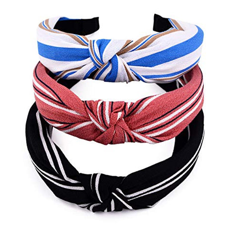 Sthuahe Women/Girls 3Pcs Handmade Wide Stripes Cloth Cross Knot Hair Hoop Hairband Headband Headwear Hair Accessories By Beauty Hair (3 Color)