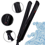 Parwin Pro Hair Straightener Flat Iron 1 Inch - Ceramic Flat Iron For All Hair Styles With Ptc Heating Auto Off Salon Hair Ion Straightener For Short Hair Black
