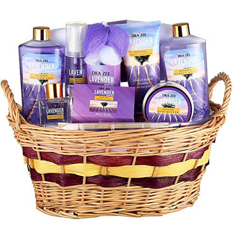 Large Luxury Complete Spa At Home Experience Gift Basket For Women By Draizee  #1 Best Gift For Valentine'S Day - Skin Care Set With Lotions, Creams, Bath Bombs &Amp; More (Lavender Deluxe Bath Set)