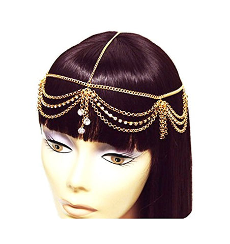 Gold Tone Womens Rhinestone Accent Draped Head Chain Jewelry Ihc1030G