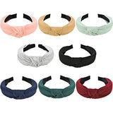 Maxdot 8 Pieces Wide Headbands Knot Turban Headband Hair Band Elastic Hair Accessories For Women And Girls, 8 Colors