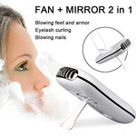 Tomnew Eyelashes Dryer Fan Mini Portable Usb Rechargeable Electric Bladeless Handheld Air Conditioning Nail Blower With Mirror For Grafted Eyelash Extension Glue Dryer (White)