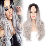Yopo Grey Ombre Long Wig - Silver Gray Ombre Wigs Dark Roots Long Curly Synthetic Hair Full Wigs For Women With Free Wig Cap