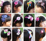 Bundle Monster 6Pc Cute Handmade Grosgrain Ribbon Bows Toddler Girl Hair Headbands, Set B - Assorted Mix Lot Set