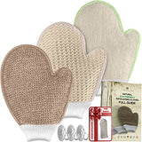 Bath Exfoliating Shower Gloves Health Set! 3 Scrubber Exfoliation Dry Spa Mitts Kit: Remove Dead Skin And Make Your Body Soft With Thick Bamboo Loofah, Medium Sisal &Amp; Thick Jute. Back, Neck &Amp; Face Use