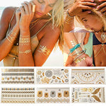 Temporary Metallic Waterproof Henna Body Tattoo Stickers For Women Teens Girls, Gold &Amp; Silver Flash Tattoo Sheets (6 Sheets)