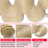 7A #60 Platinum Blonde Human Hair Bundle Body Wavy Unprocessed Brazilian Virgin Human Hair Sew In Extensions For Women Wavy Long Hair Weave 100G/Lot 18