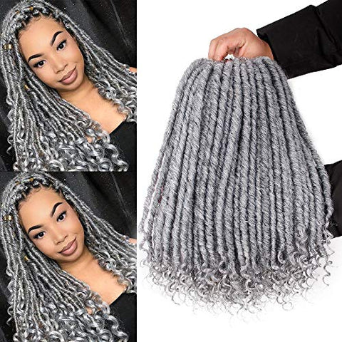 Gx Beauty 6Packs Goddess Locs Crochet Hair 16Inch Faux Locs With Curly Ends Ombre Grey Goddess Faux Locs Hair Soft Synthetic Braiding Hair Extensions