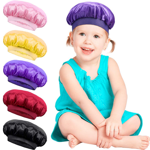 Satinior 5 Pieces Kids Satin Bonnets Stain Sleep Caps Wide Band Sleep Hats For Kids Daily Supplies