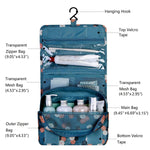 Esleto Hanging Toiletry Bag Cosmetic Waterproof Travel Bag Makeup Portable Organizer For Women & Men And Girls (Blue Flower)