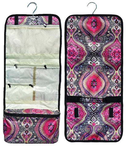 Best Large Pink Paisley Hanging Cosmetic Makeup Toiletry Summer Portable Travel Bag Case Kit For Women Teen Girl