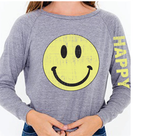 Happy Face LONG SLEEVE TRI BLEND RAGLAN
